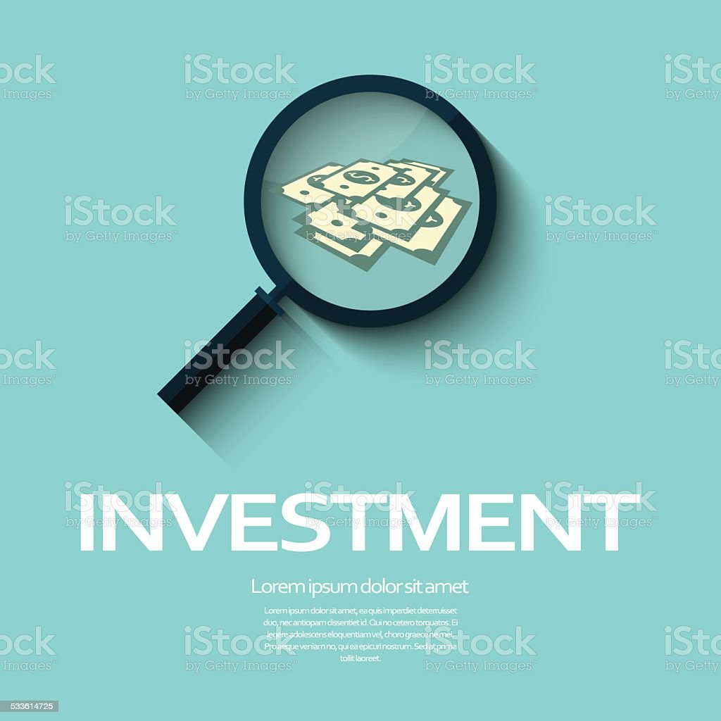 Investment analysis graphic design concept with magnifying glass and dollar vector art illustration