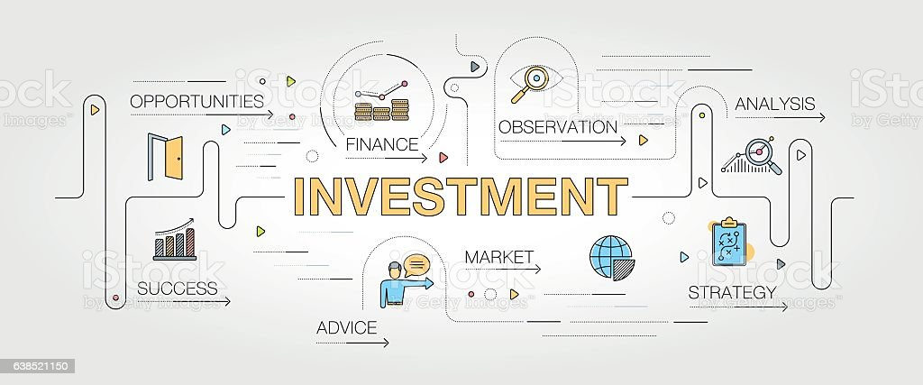 Investment banner and icons vector art illustration