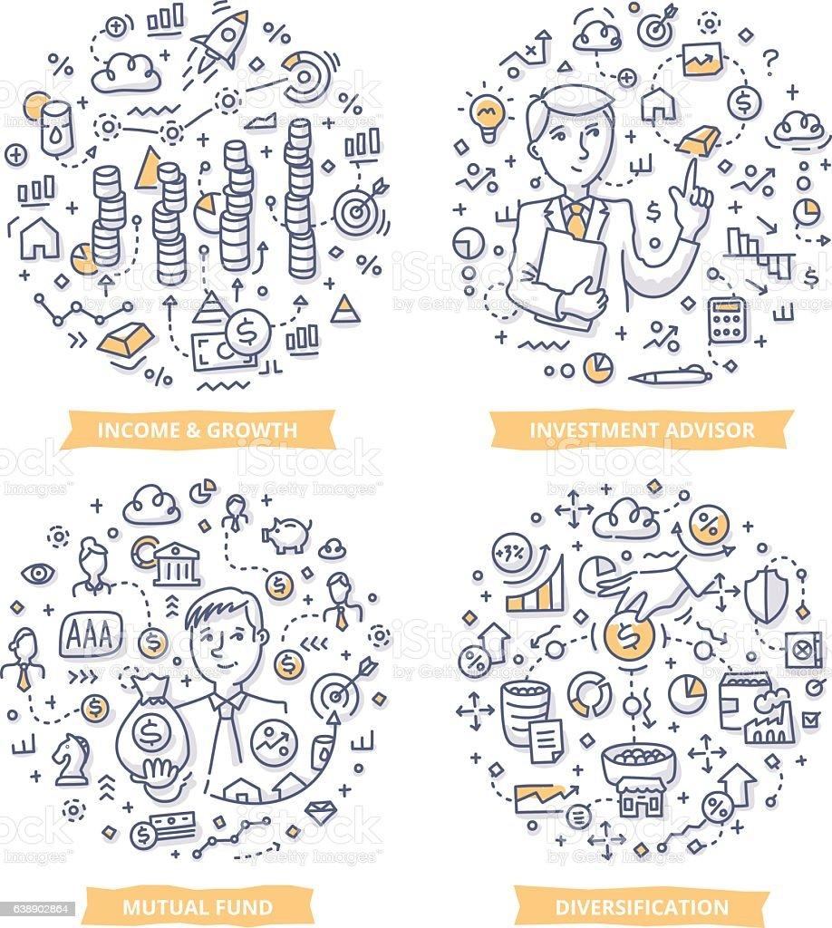 Investment Doodle Illustrations vector art illustration