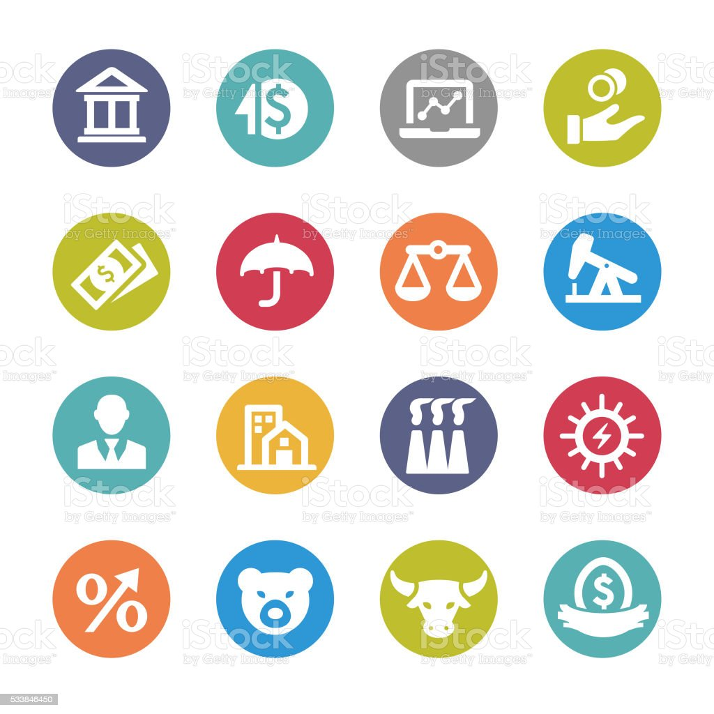 Investment Icons Set - Circle Series vector art illustration