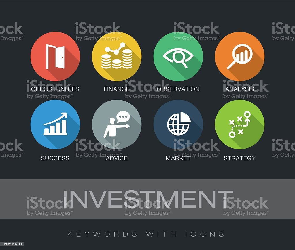 Investment keywords with icons vector art illustration