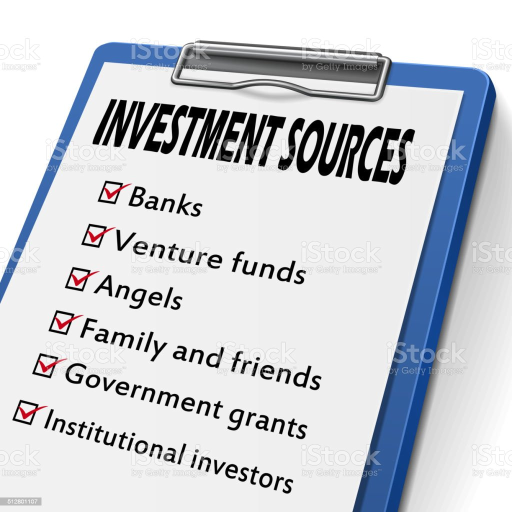 investment sources clipboard vector art illustration