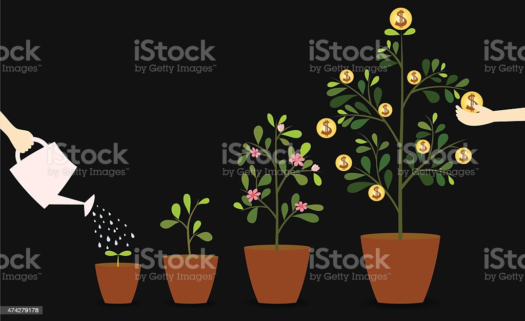 Investment trees vector art illustration