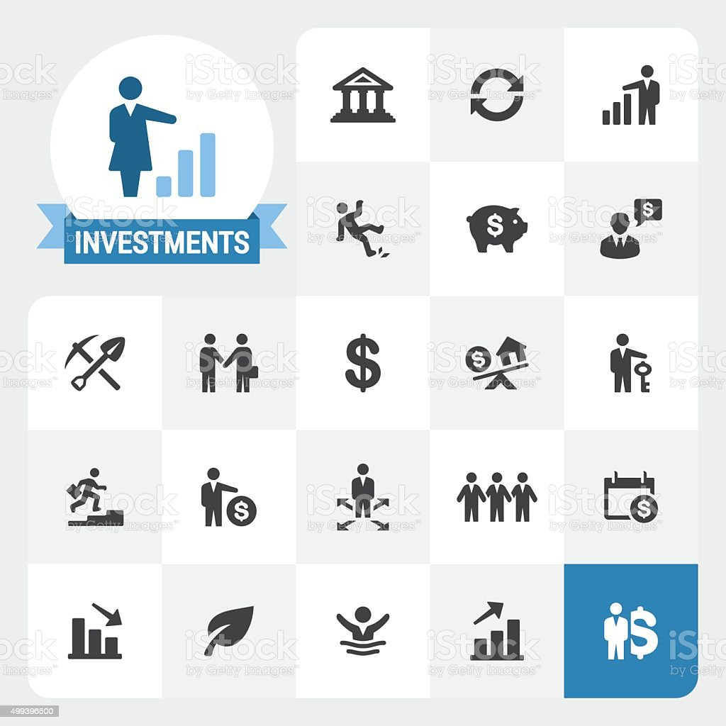 Investments base vector icons and label vector art illustration