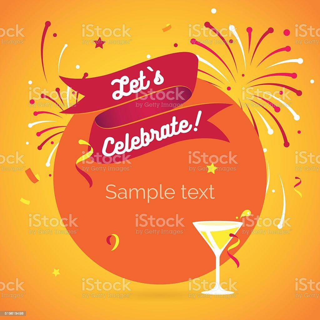 Invitation background Lets celebrate vector art illustration