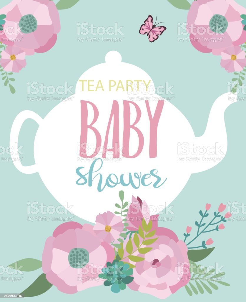 invitation card for baby shower tea party royaltyfree stock vector art
