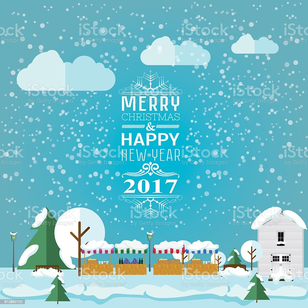 invitation card Merry Christmas and happy new year 2017 vector art illustration
