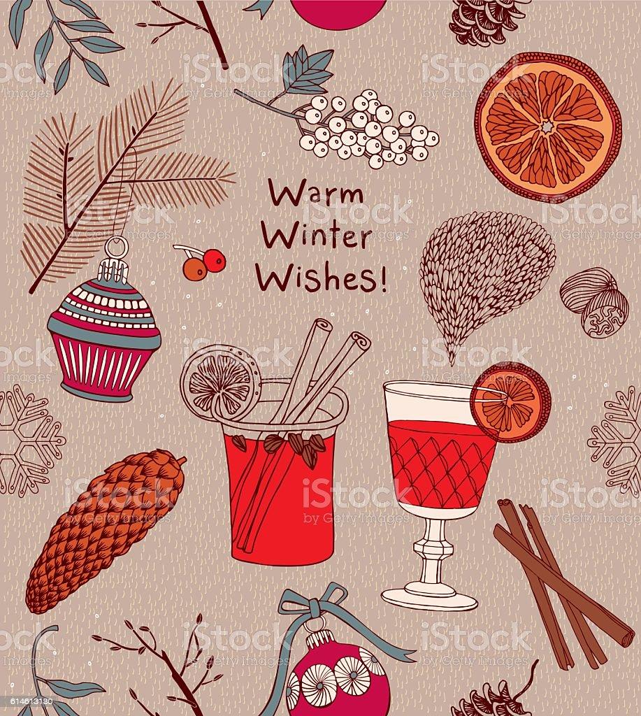 Invitation card. Mulled wine vector art illustration