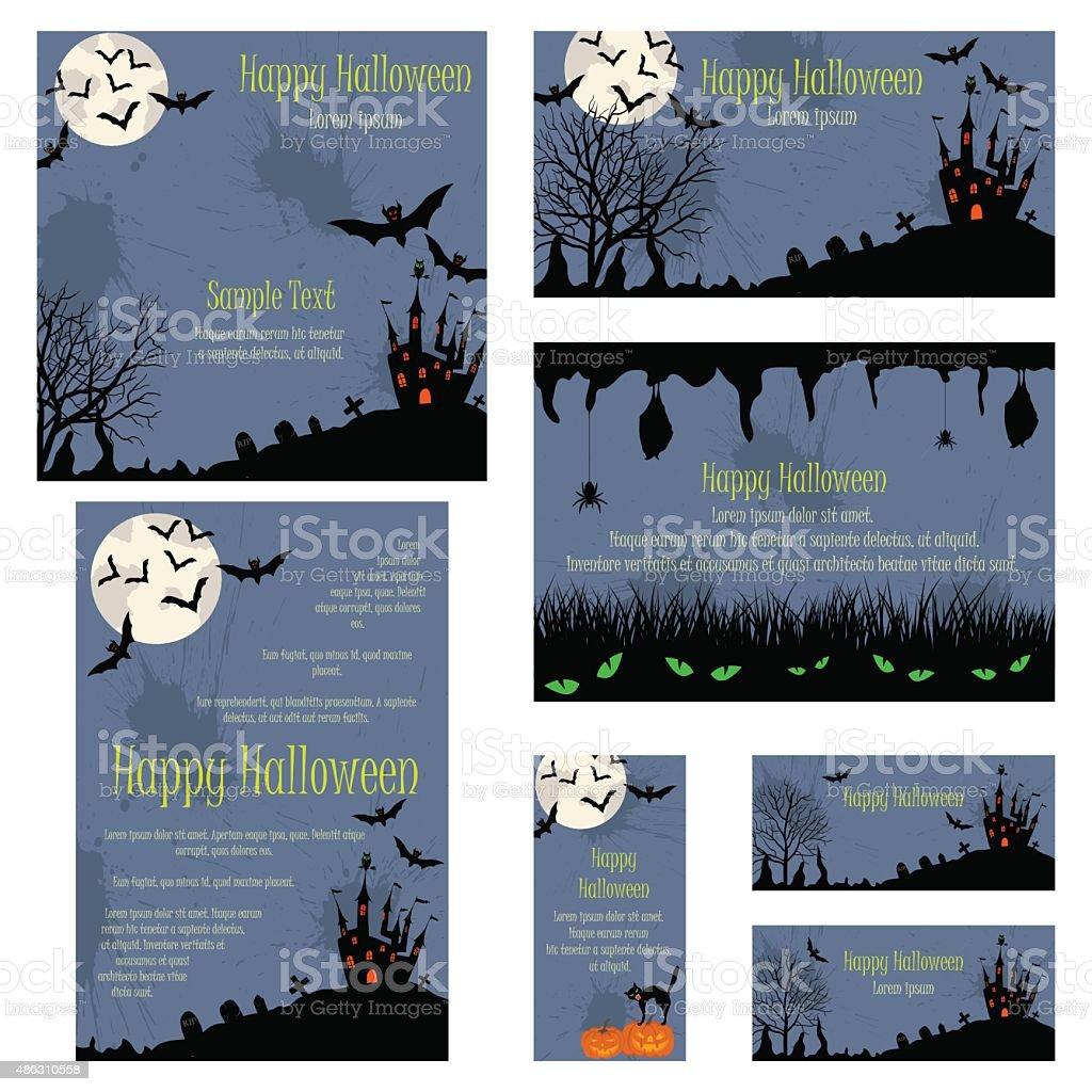 Invitation Card Set vector art illustration