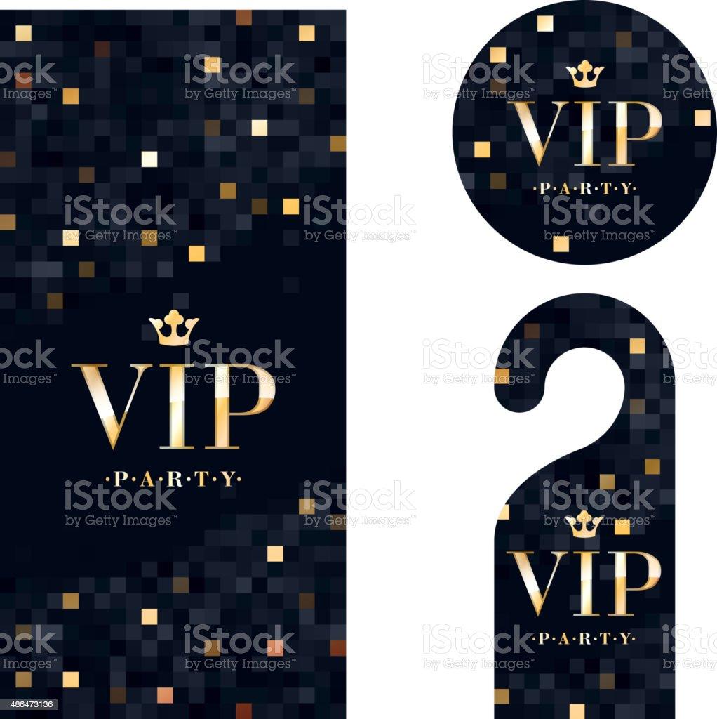 VIP invitation card, warning hanger and badge vector art illustration