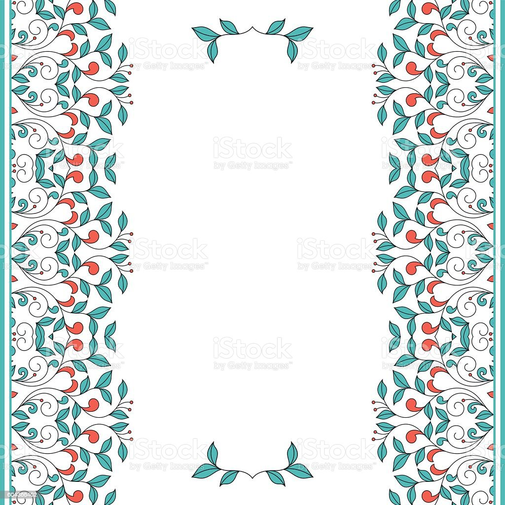 Invitation card with floral ornament. vector art illustration
