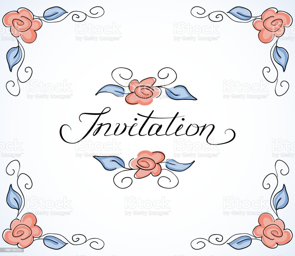Invitation card with floral pattern royalty-free stock vector art