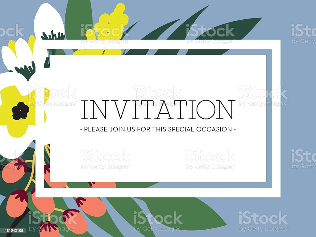 Invitation card with flowers and matt blue background. vector art illustration