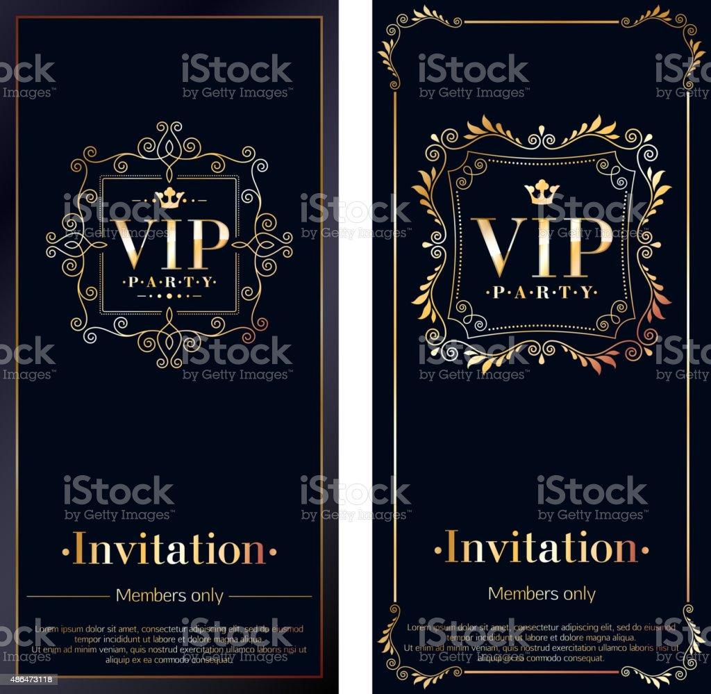 VIP invitation cards premium design templates vector art illustration