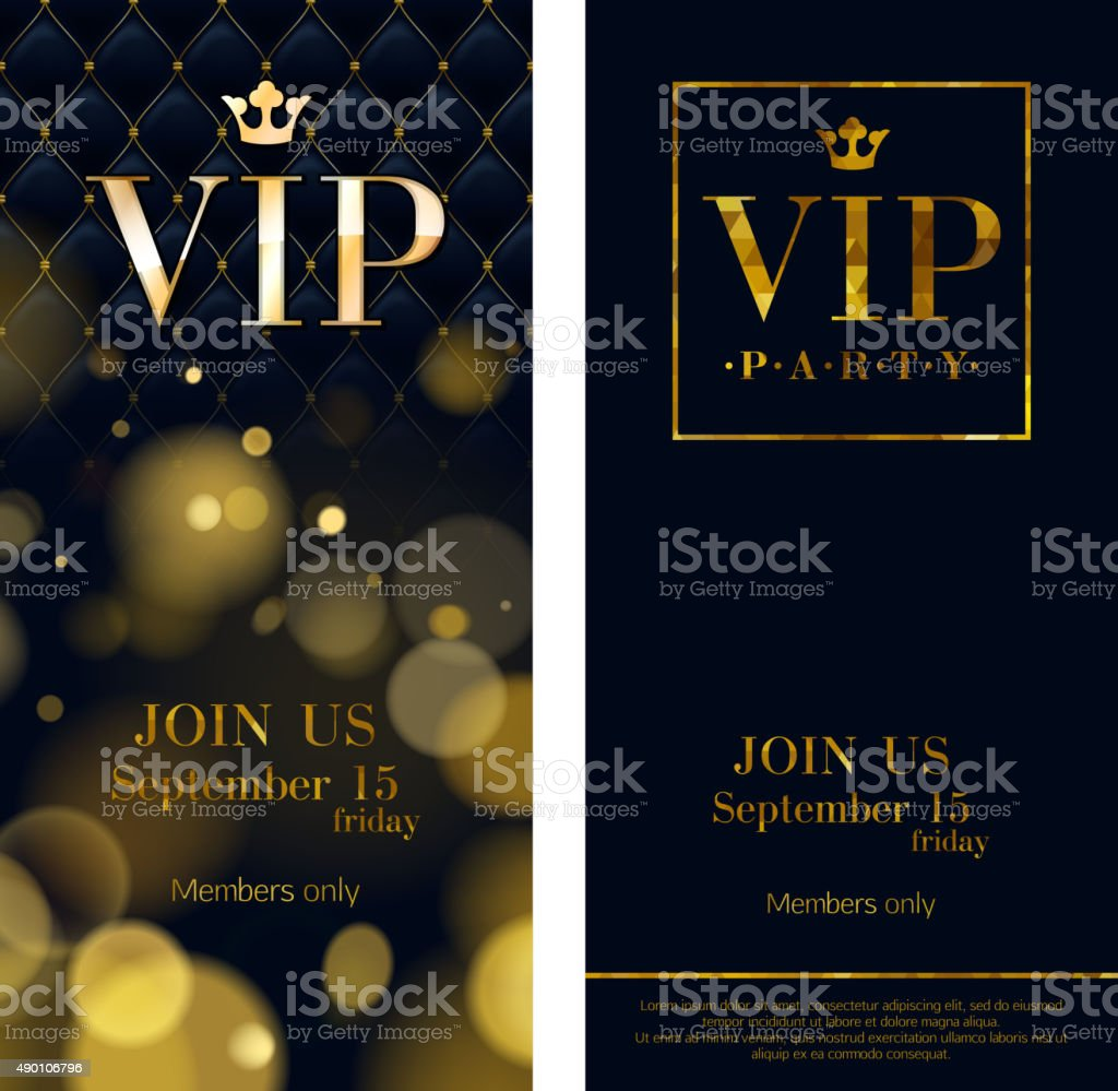 VIP invitation cards premium design templates vector art illustration