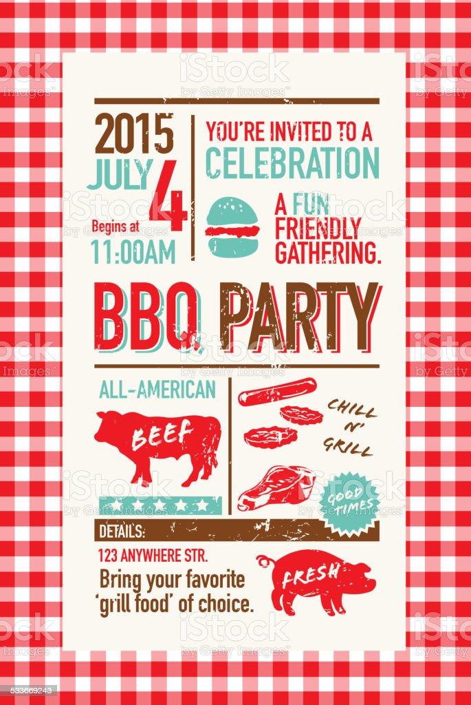 BBQ invitation design template on checkered tablecloth vector art illustration