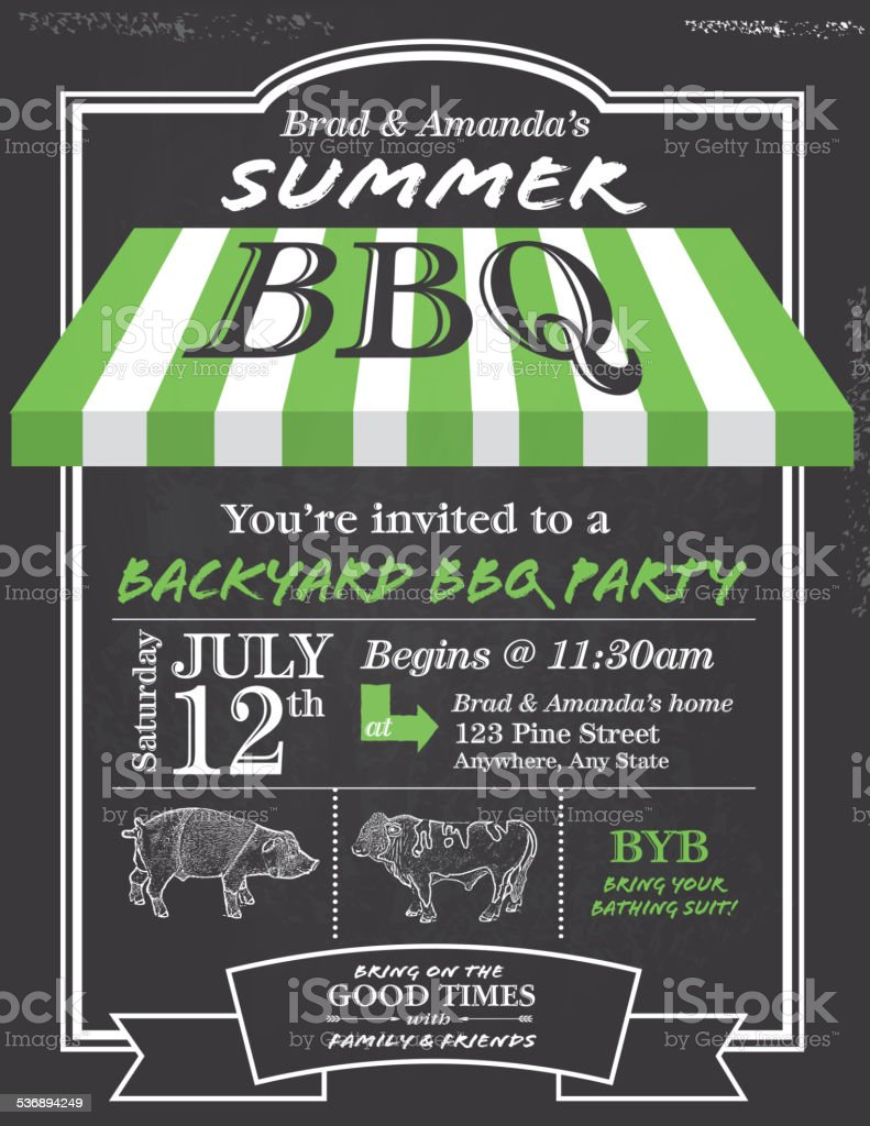 BBQ invitation design template with cute awning vector art illustration