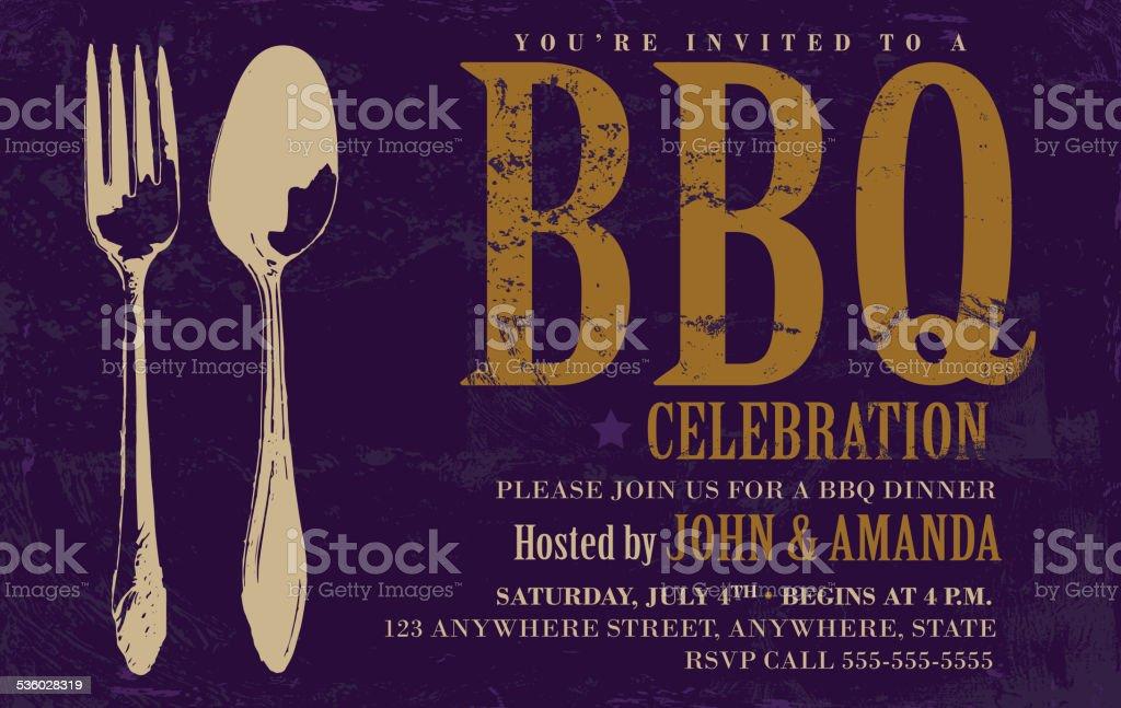 BBQ invitation design template with dark background vector art illustration