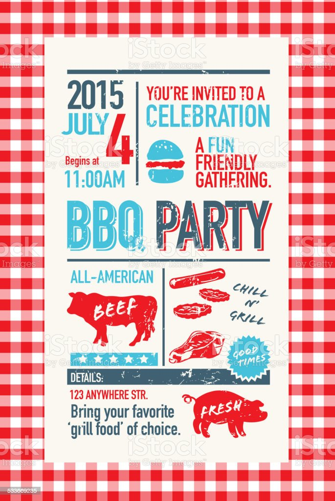 BBQ invitation design template with Independence Day vector art illustration