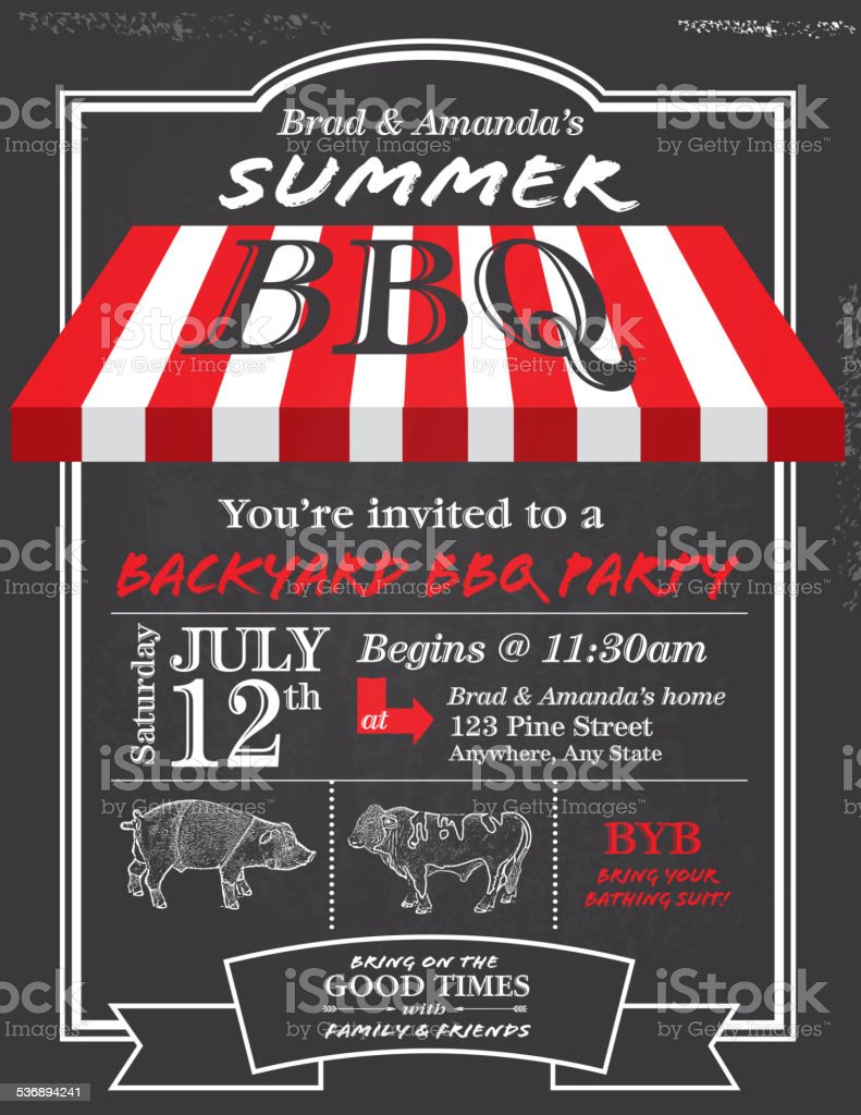 BBQ invitation design template with red awning vector art illustration