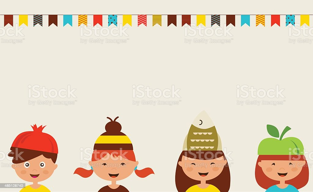 invitation for costume party. Kids wearing different hats vector art illustration