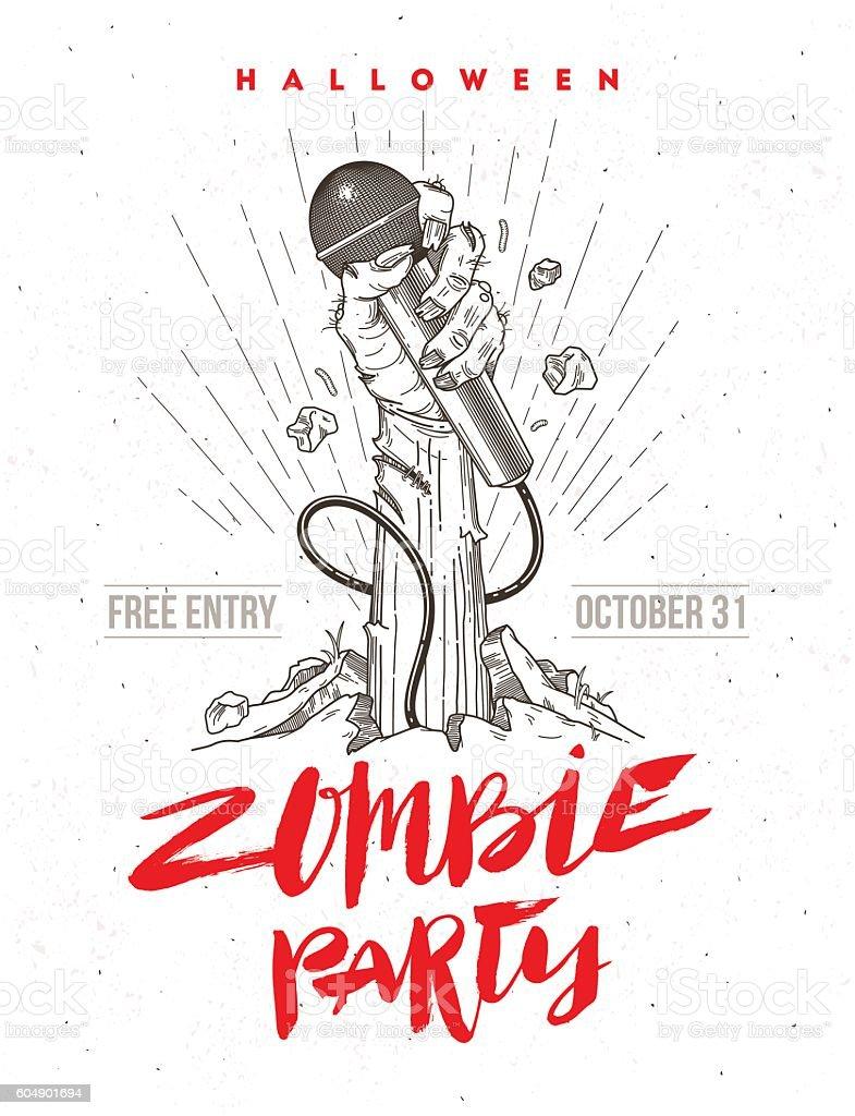 Invitation for halloween zombie karaoke party. vector art illustration