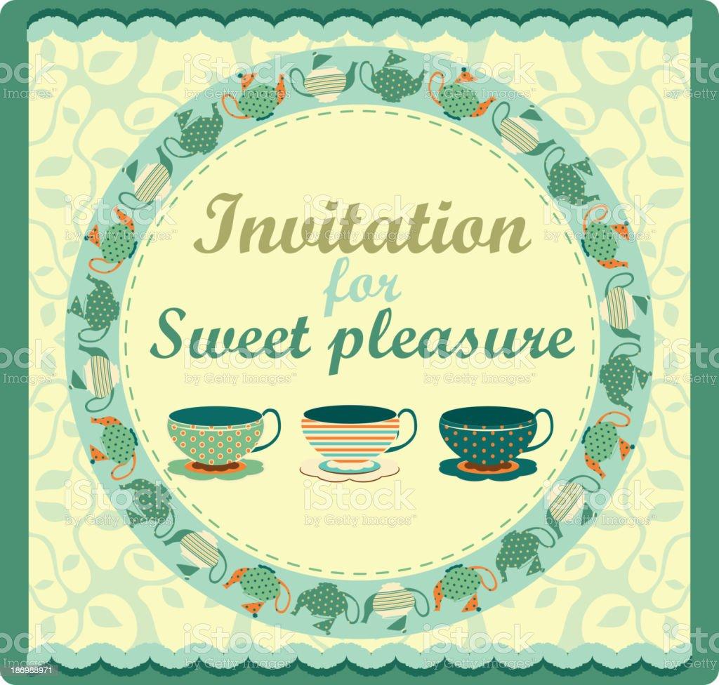 Invitation for tea party, vector illustration royalty-free stock vector art