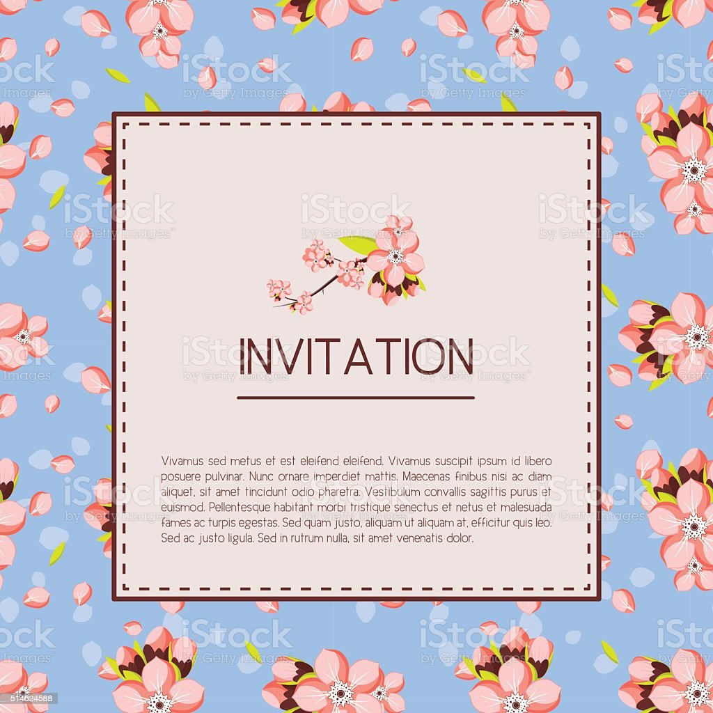 Invitation or greeting card template with pink almond flowers. vector art illustration