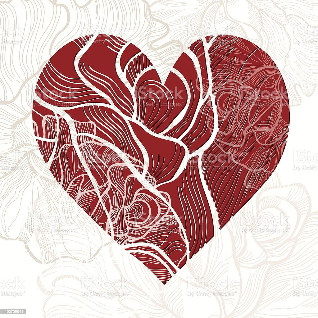 Invitation or greeting card with heart and  rose. vector art illustration