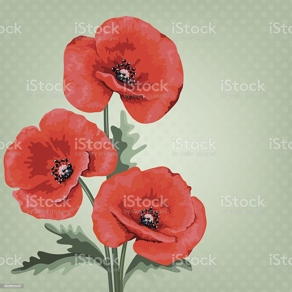 Invitation or wedding card with abstract floral background. Red poppy. royalty-free stock vector art