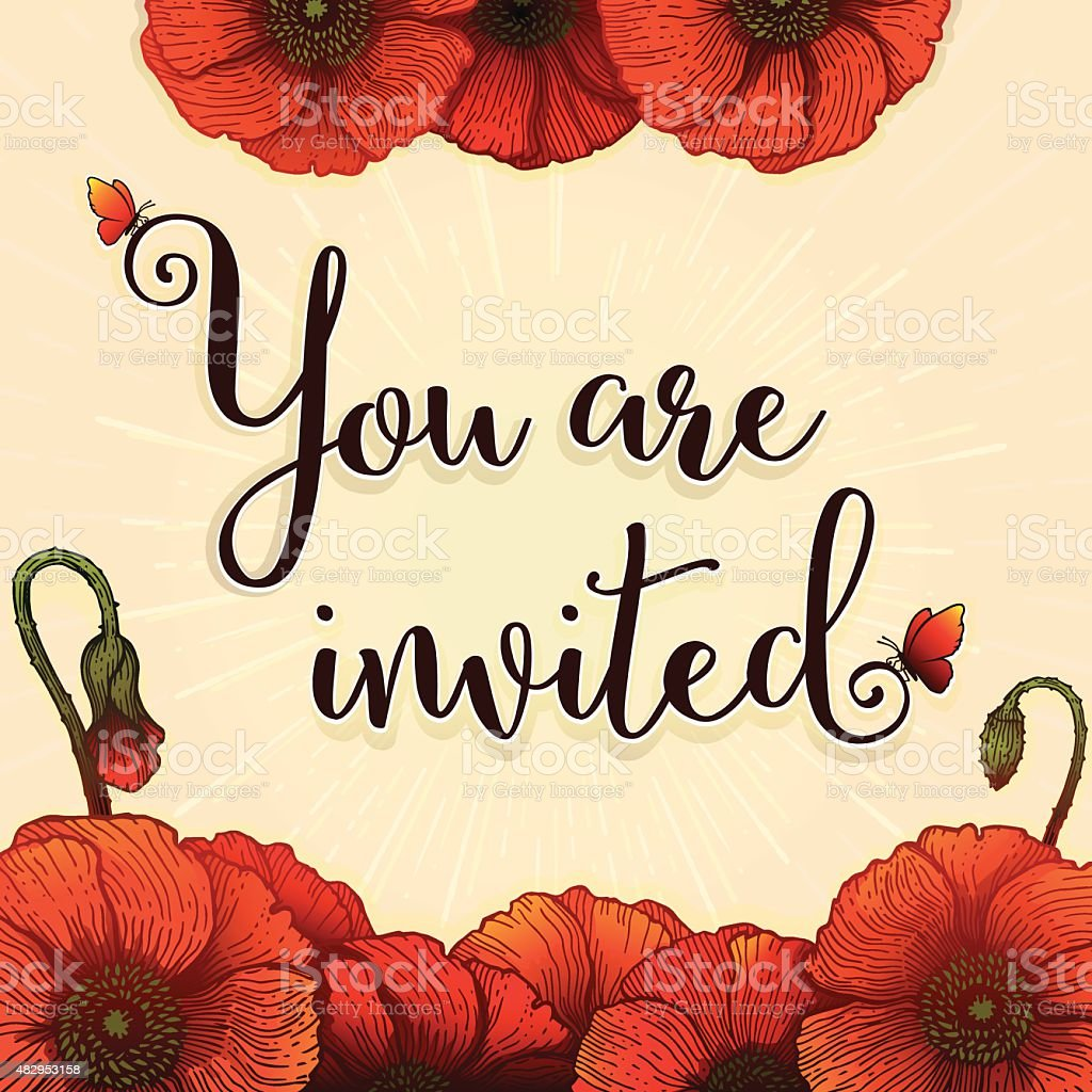 Invitation Square Card  14.5 cm Red Poppies vector art illustration