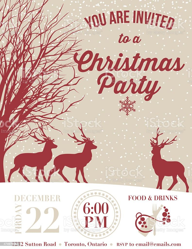 invitation template for a holiday party deer and snow stock invitation template for a holiday party deer and snow royalty stock vector art