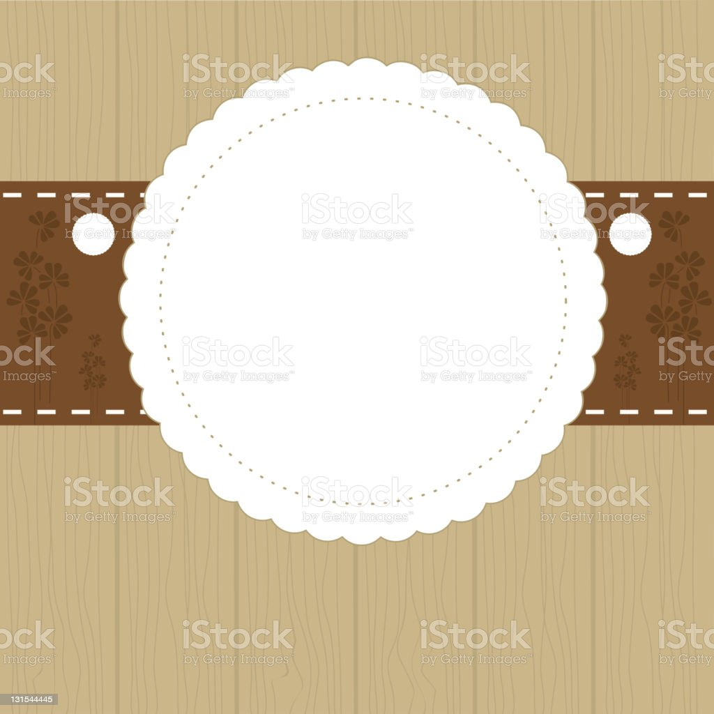 Invitation template with circular shape on beige background royalty-free stock vector art
