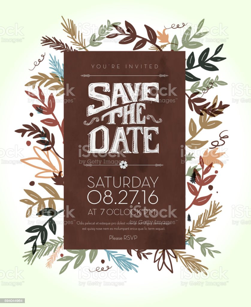 Invitation template with hand drawn leaf and lettering elements vector art illustration