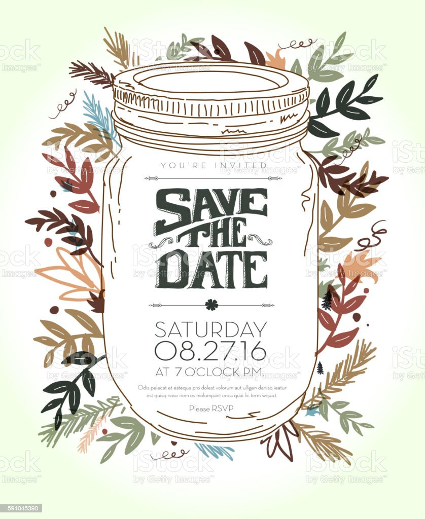 Invitation template with hand drawn leaf,  jar and lettering elements vector art illustration