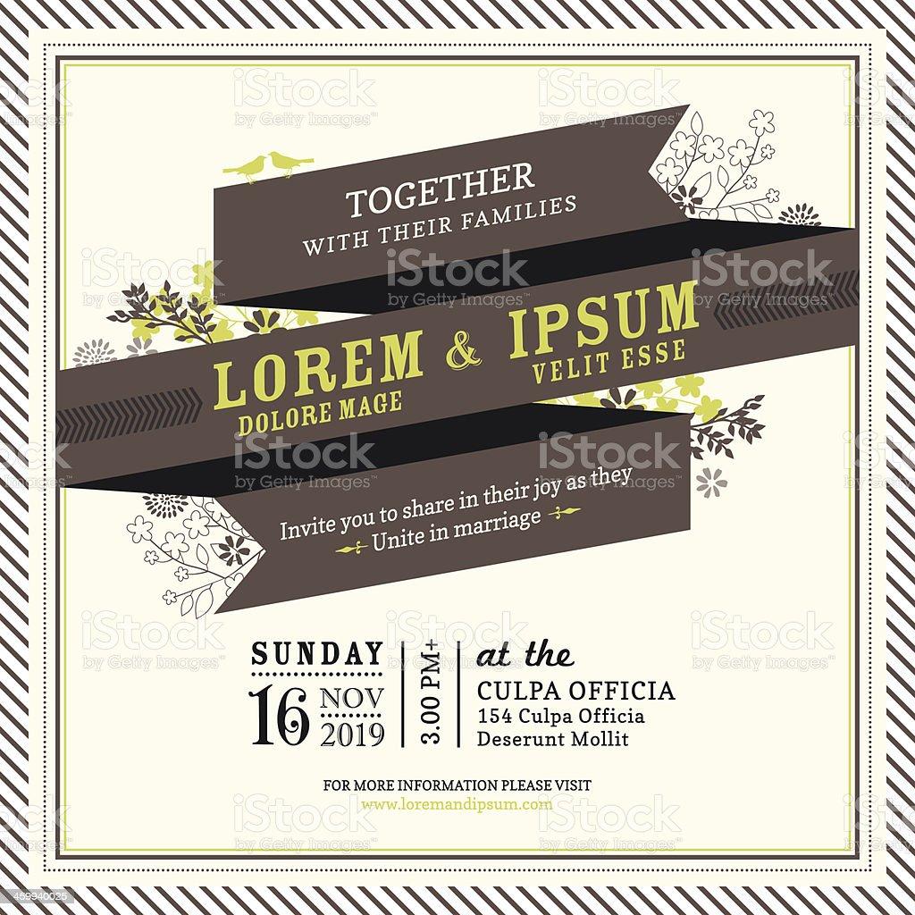 Invitation template with vintage ribbon banner vector art illustration