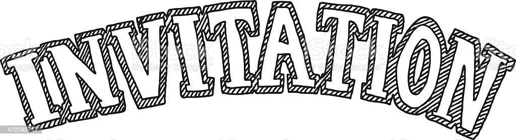 Invitation Text Drawing royalty-free stock vector art