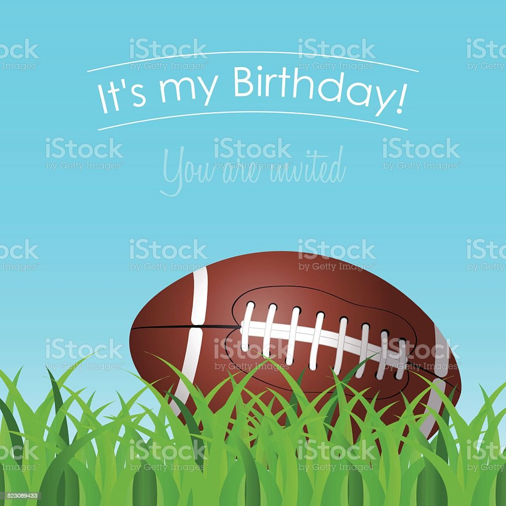 invitation to the birthday party with a football on grass vector art illustration
