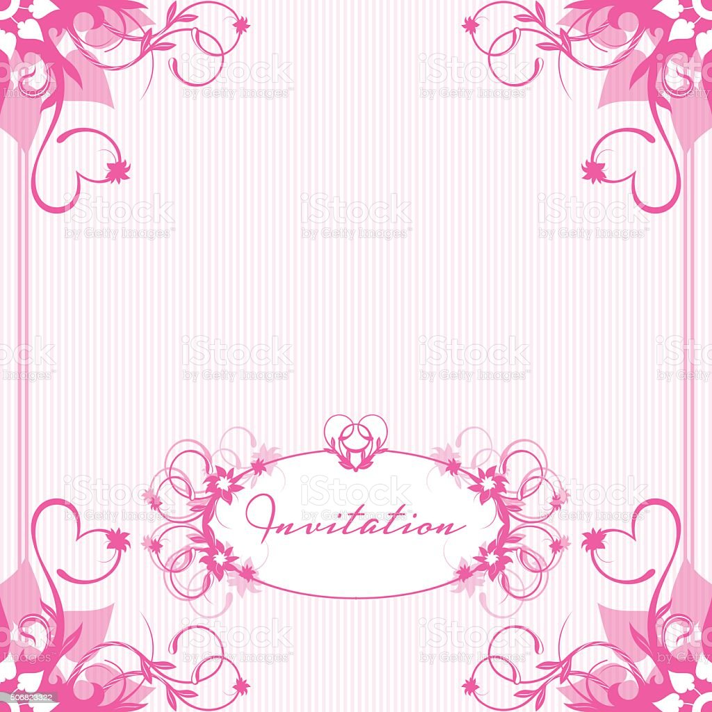 Invitation to the wedding card in pink colors vector art illustration