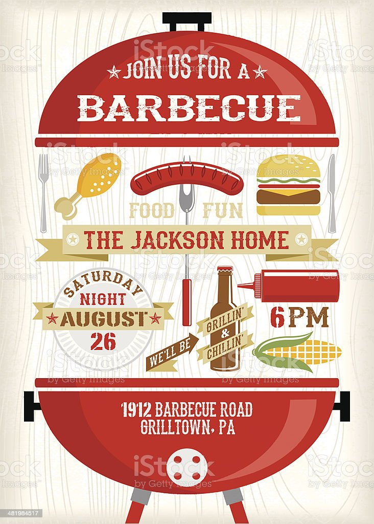 BBQ Invitation vector art illustration