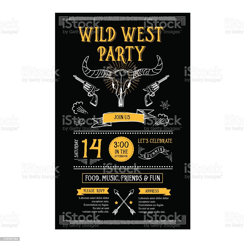 Invitation wild west party. vector art illustration