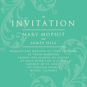 Invitation with a rich background in Renaissance style. Template