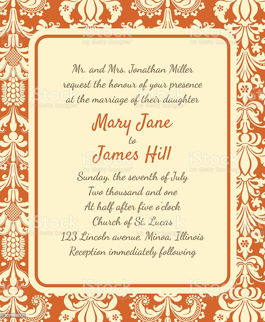 Invitation with a rich background in Renaissance style. Template royalty-free stock vector art