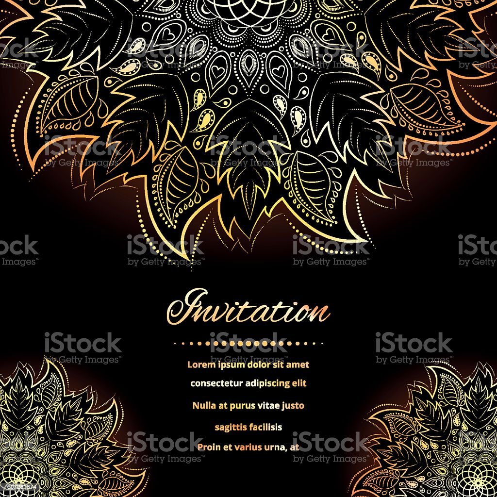 Invitation with gold mandala stock vecteur libres de droits libre de droits