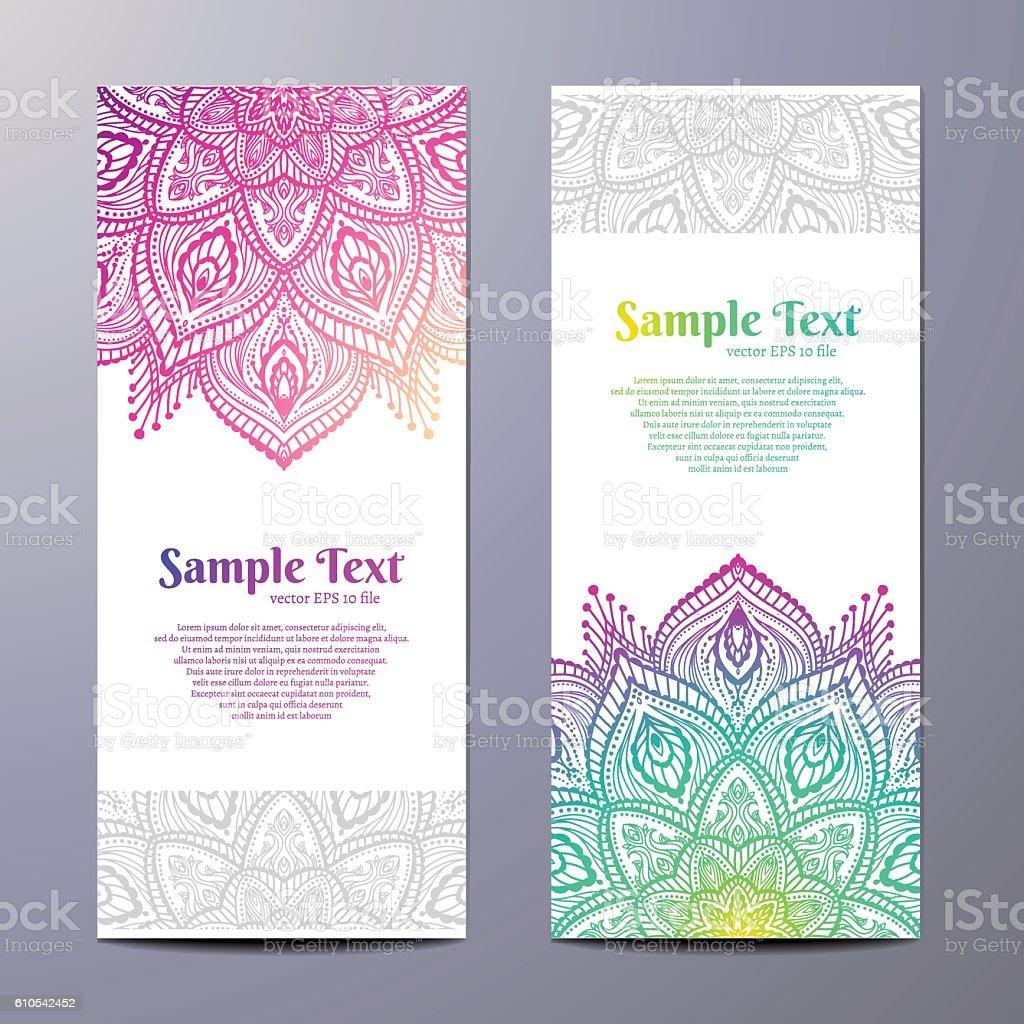 Invitation with hand drawn mandala pattern. vector art illustration