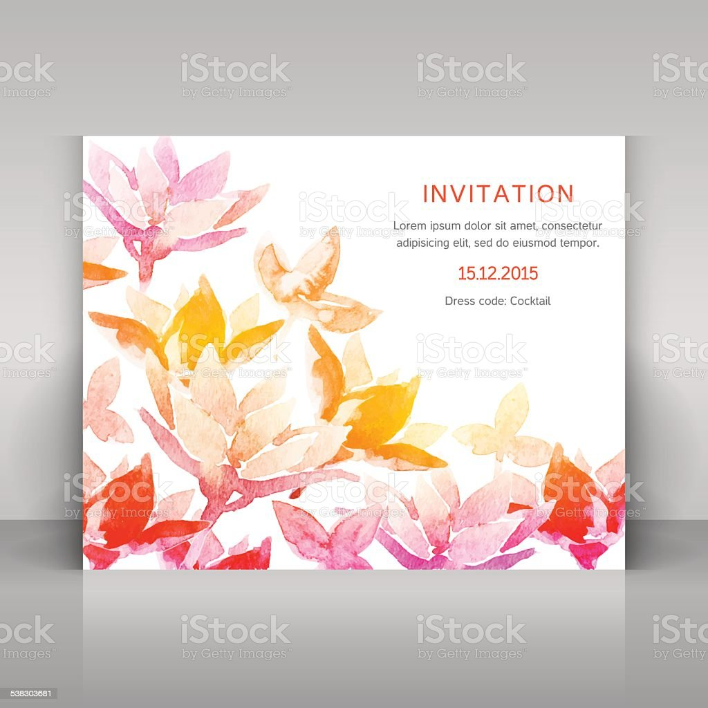 Invitation with watercolor flowers. vector art illustration
