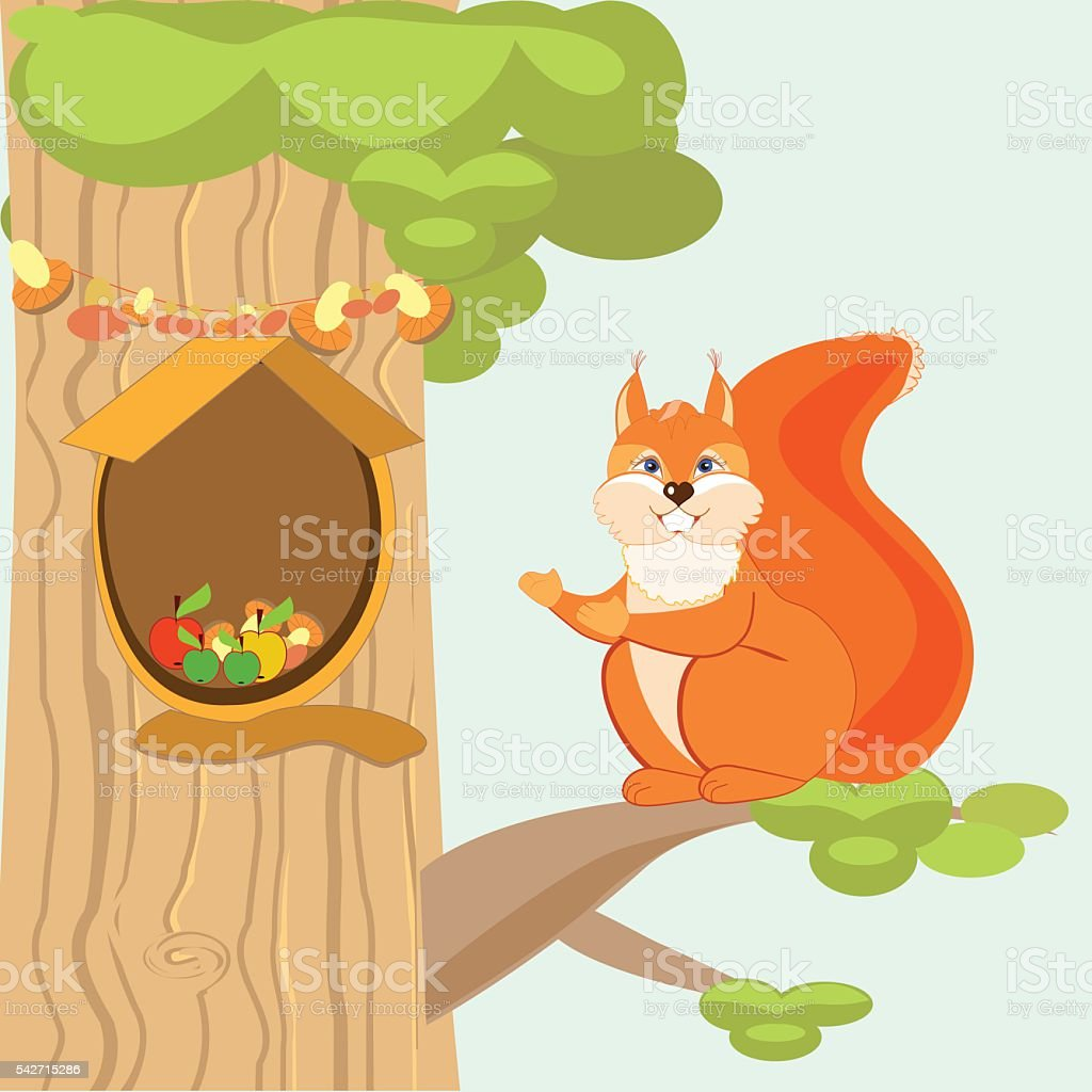 Invites squirrel in the hollow of his royalty-free stock vector art