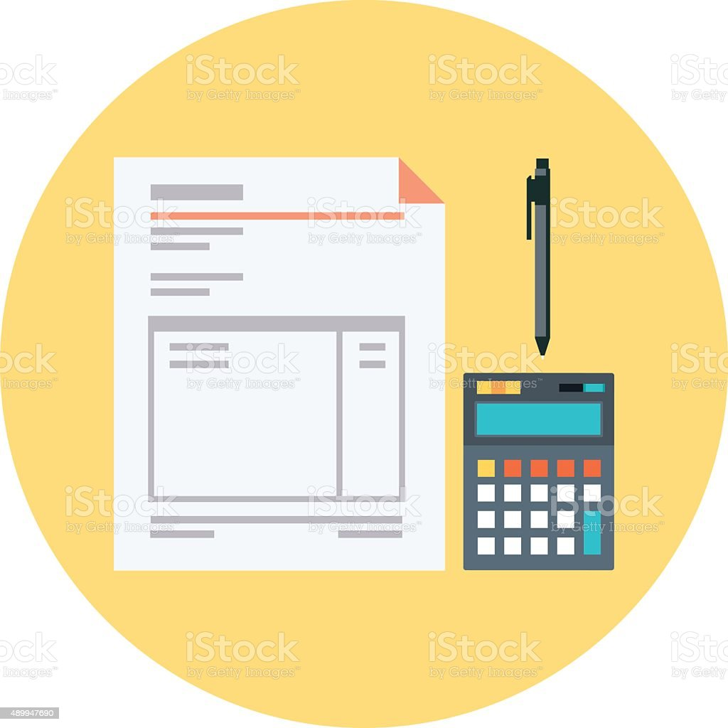 Invoice flat style colorful, vector icon for info graphics, webs vector art illustration