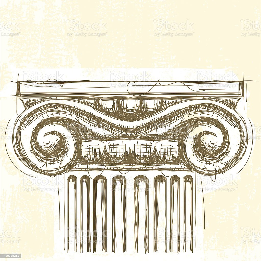 Ionic capital vector art illustration