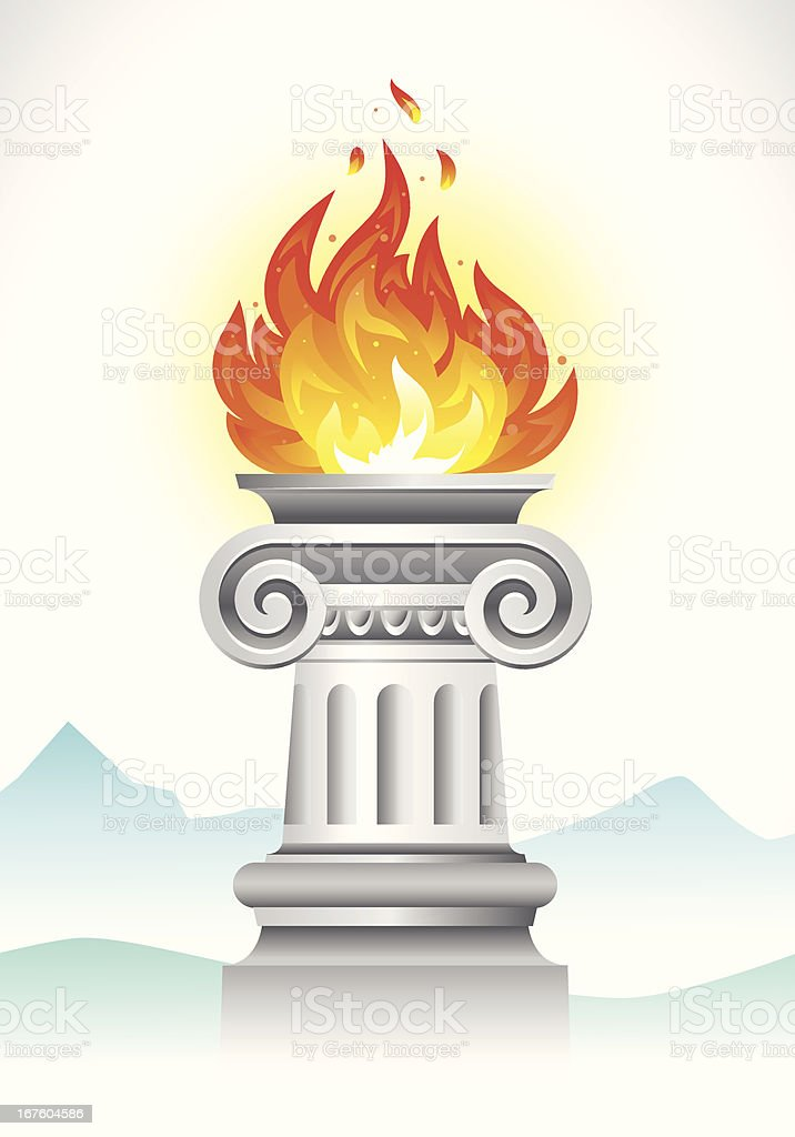 Ionic column with olympic fire vector art illustration
